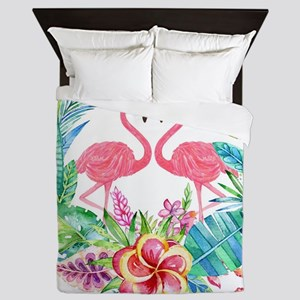 Colorful Tropical Wreath & Flamingos Queen Duvet