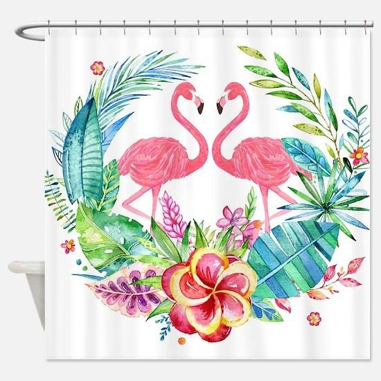 Colorful Tropical Wreath & Flamingo Shower Curtain
