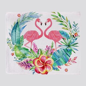 Colorful Tropical Wreath & Flamingos Throw Blanket
