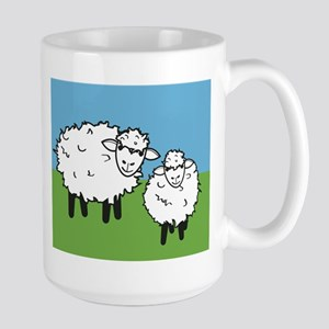 momma sheep baby lamb Large Mug