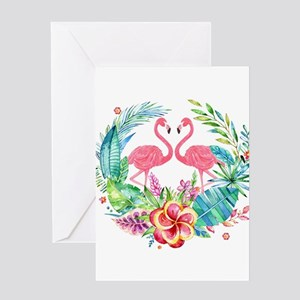 Colorful Tropical Wreath & Flamingo Greeting Cards