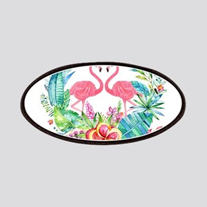 Colorful Tropical Wreath & Flamingos Patch