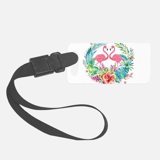 Colorful Tropical Wreath & Flami Luggage Tag