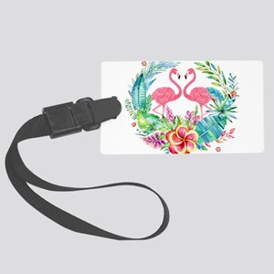Colorful Tropical Wreath & Flami Large Luggage Tag