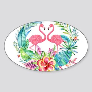 Colorful Tropical Wreath & Flamingos Sticker