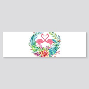 Colorful Tropical Wreath & Flamingo Bumper Sticker