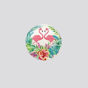 Colorful Tropical Wreath & Flamingos Mini Button
