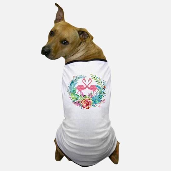 Colorful Tropical Wreath & Flamingos Dog T-Shirt