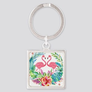 Colorful Tropical Wreath & Flamingos Keychains