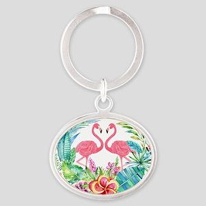 Colorful Tropical Wreath & Flamingos Keychains