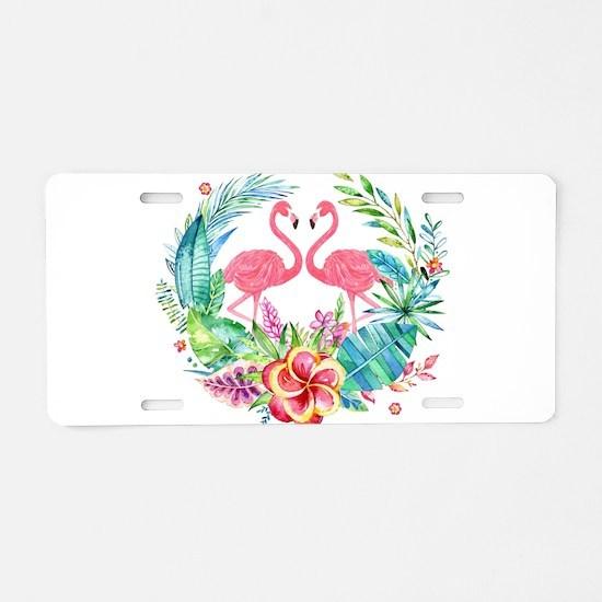 Colorful Tropical Wreath & Aluminum License Plate