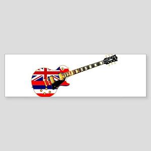 Hawaii State Flag Guitar Bumper Sticker