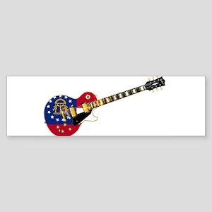 Georgia State Flag Guitar Bumper Sticker
