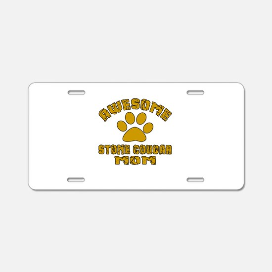 Awesome Stone cougar Mom De Aluminum License Plate