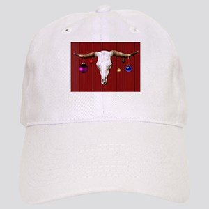 Cow Skull with Christmas Ornaments on Red Barn Cap