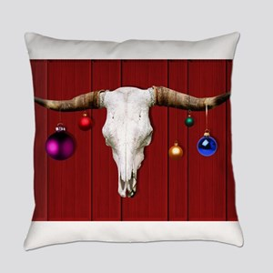 Cow Skull with Christmas Ornaments Everyday Pillow