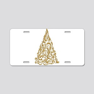 Ornate Golden Metallic Fili Aluminum License Plate