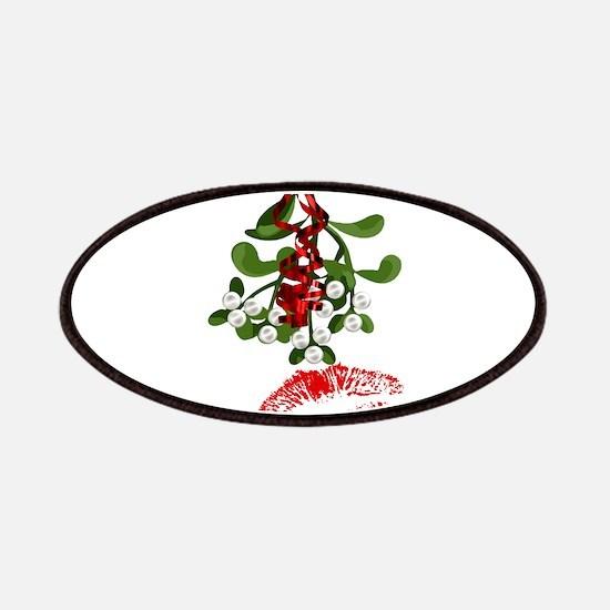 Mistletoe and Red Lipstick Kiss Print Patch