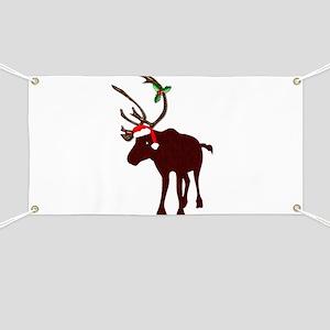 Christmas Reindeer with Antlers Santa Hat B Banner