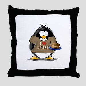 I Love Latkes Penguin Throw Pillow
