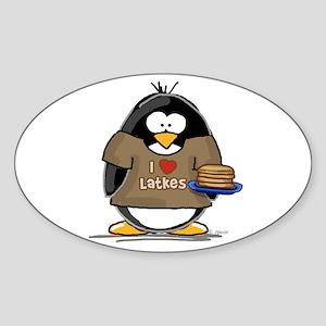 I Love Latkes Penguin Oval Sticker