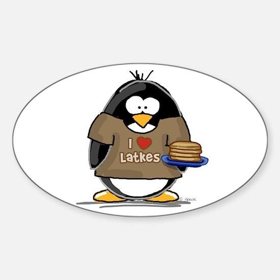 I Love Latkes Penguin Oval Decal