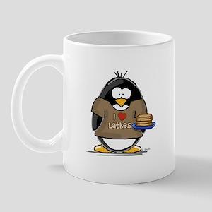 I Love Latkes Penguin Mug