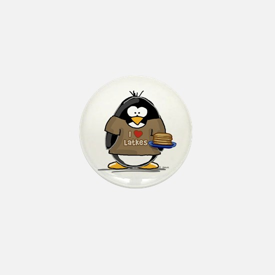 I Love Latkes Penguin Mini Button