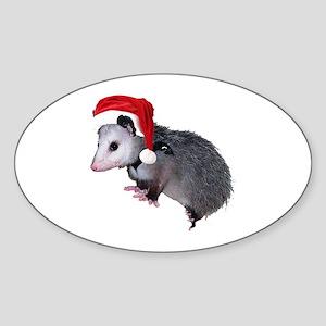 Santa Possum Oval Sticker