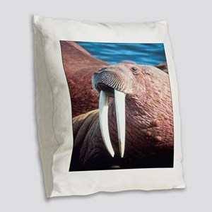 Walrus Burlap Throw Pillow