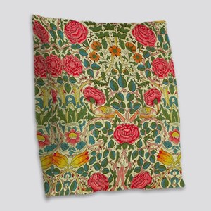 Rose Chintz Pattern Colorful Burlap Throw Pillow
