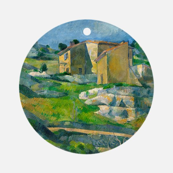 Houses in Provence by Paul Cézanne Round Ornament