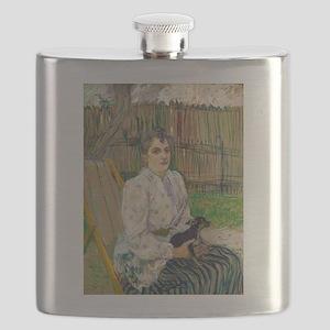 Lady with a Dog by Henri de Toulouse-Lautrec Flask