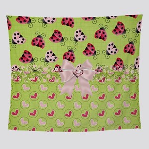 Pink and Red Ladybugs Wall Tapestry
