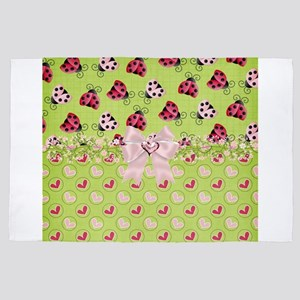 Pink and Red Ladybugs 4' x 6' Rug