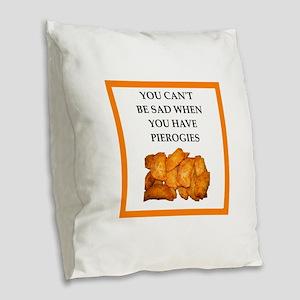 pierogis Burlap Throw Pillow