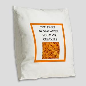 crackers Burlap Throw Pillow