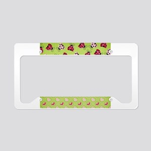 Pink and Red Ladybugs License Plate Holder