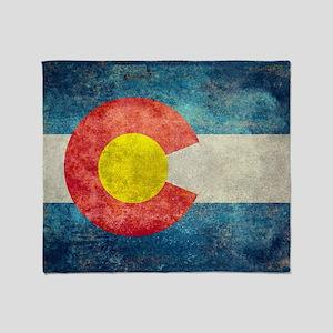 Colorado State Flag - Retro Style Throw Blanket