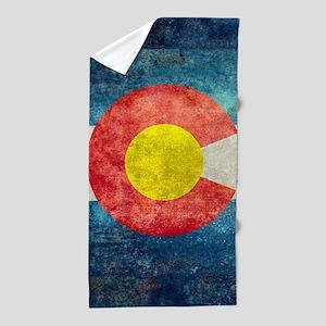 Colorado State Flag - Retro Style Beach Towel