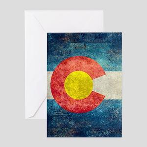 Colorado State Flag - Retro Style Greeting Cards