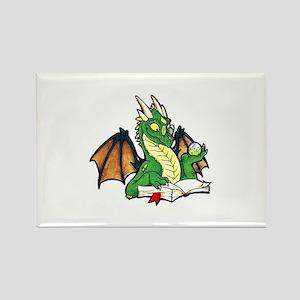 Green Bookdragon Rectangle Magnet