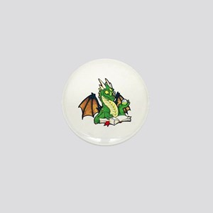 Green Bookdragon Mini Button