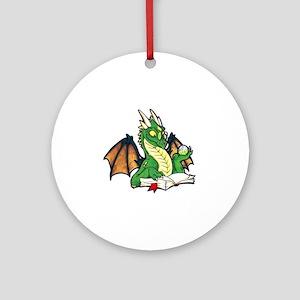 Green Bookdragon Ornament (Round)
