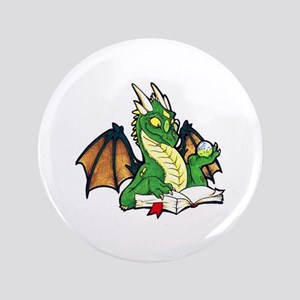 """Green Bookdragon 3.5"""" Button"""