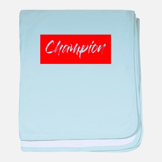 inspiration text- champion frame red baby blanket