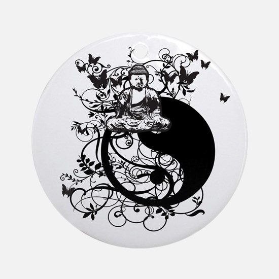 Buddha Design in Black Ornament (Round)