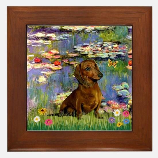 Lilies & Dachshund Framed Tile
