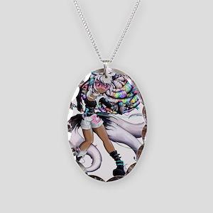 Cyber Kitsune Girl Necklace Oval Charm