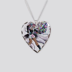 Cyber Kitsune Girl Necklace Heart Charm